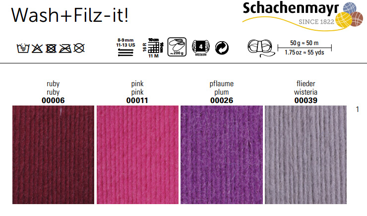 Schachenmayr Farbkarte Wash + Filz-it!